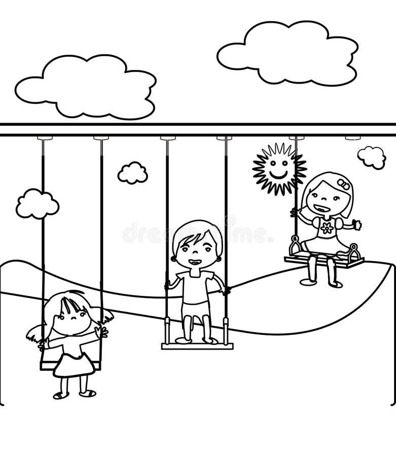 Tres pequeños niños que colorean la página stock de ilustración