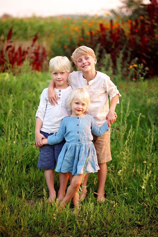 Tres pequeños niños rubios preciosos que llevan a cabo las manos afuera en t fotos de archivo libres de regalías