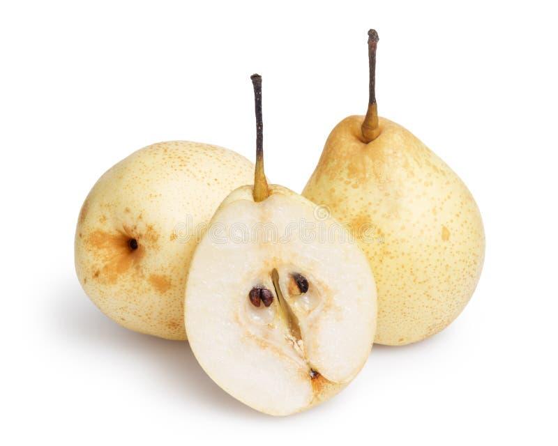 Tres peras enteras del nashi fotos de archivo