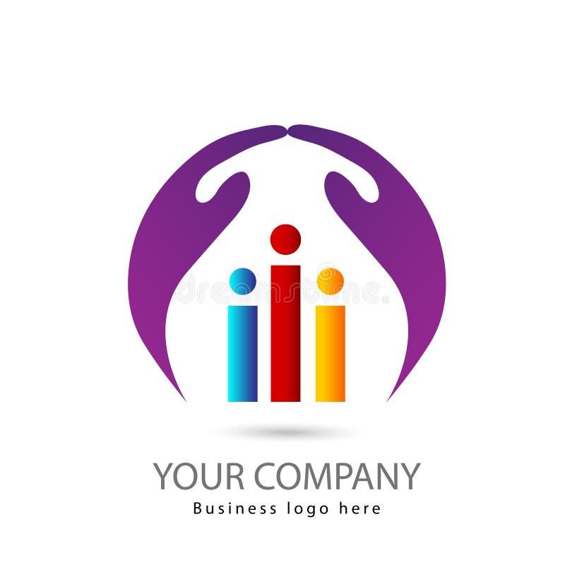 Tres personas con diseño del logotipo de dos manos junto stock de ilustración