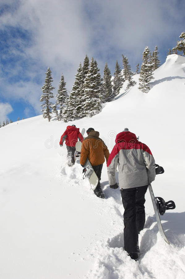 Tres personas con las snowboard que caminan para arriba nieve fotografía de archivo libre de regalías