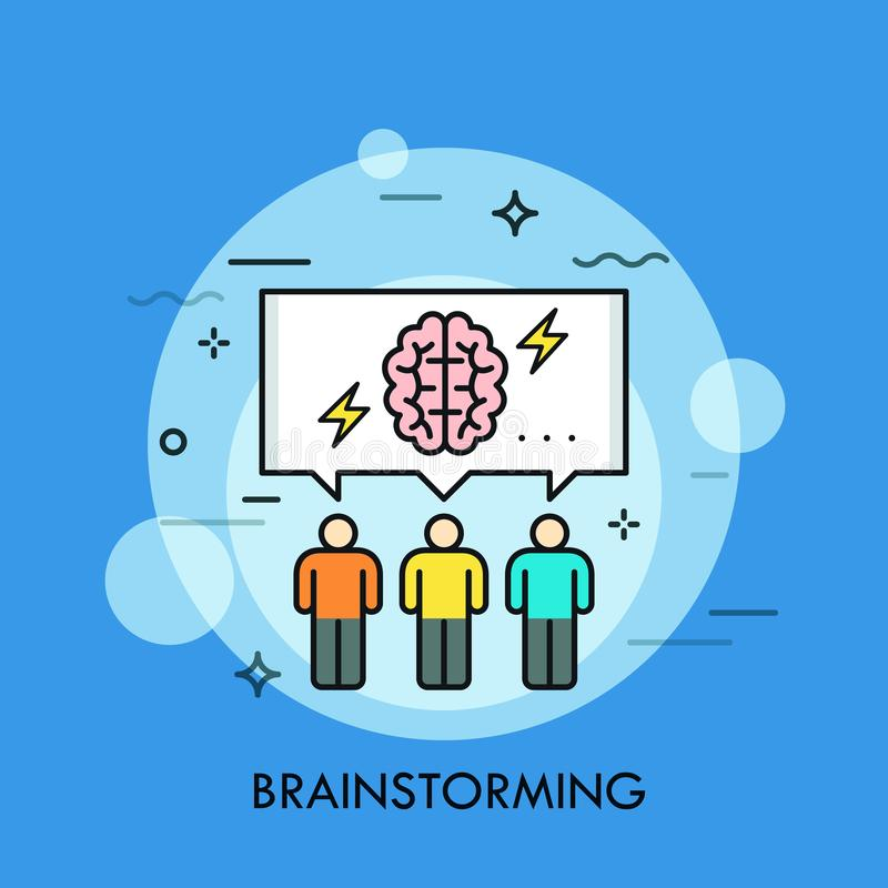 Tres personas y discursos burbujean con del cerebro y del relámpago símbolos dentro Concepto de reunión o de sesión de reflexión ilustración del vector