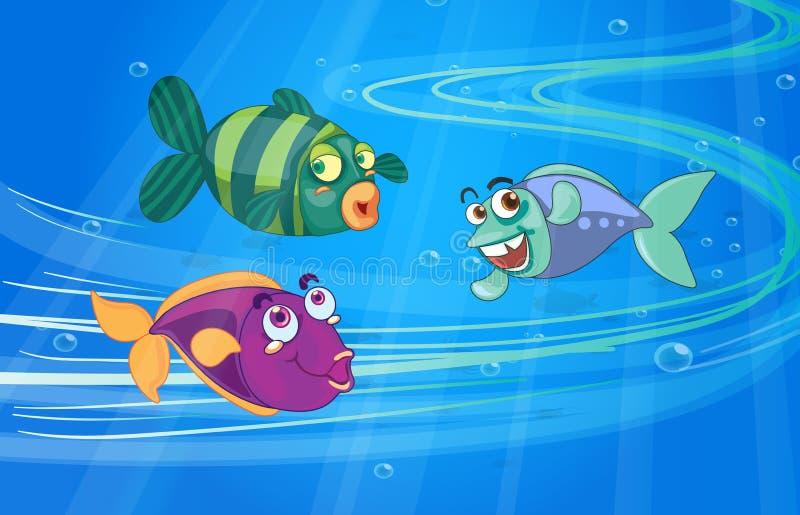 Tres pescados con las caras stock de ilustración