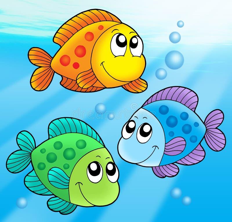 Tres pescados lindos stock de ilustración