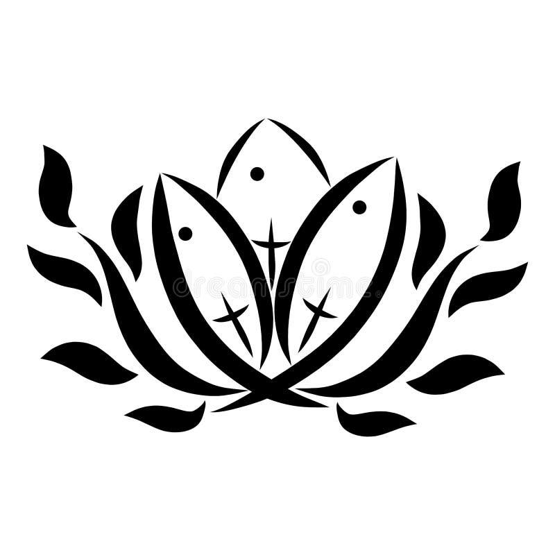 Tres pescados, similares al lirio, con las cruces, y las ramitas, simbolismo cristiano libre illustration