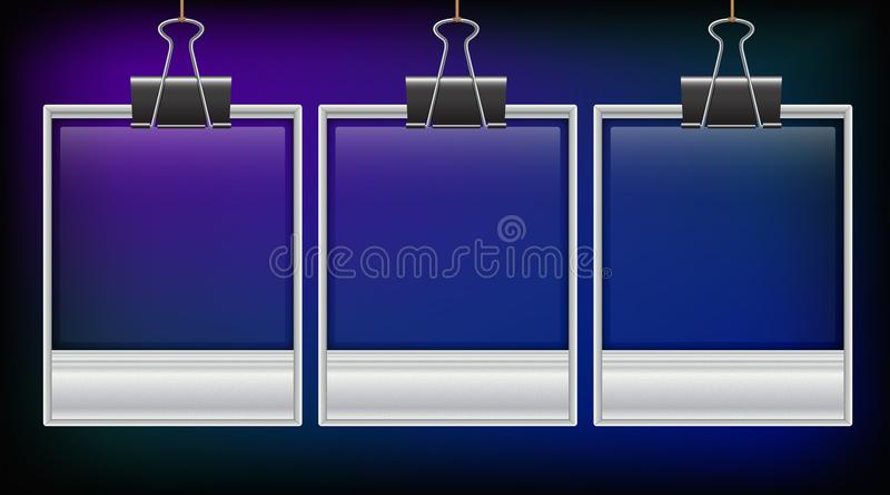 Tres photoframes en fondo azul stock de ilustración