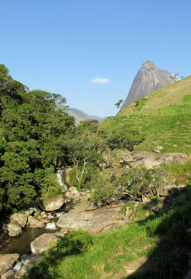 Tres Picos National Park. Tres Picos, three peaks isolate mountain ofSerra dos Orgaos National Park located in Nova Friburgo town, Rio de Janeiro Brazil. The royalty free stock photo