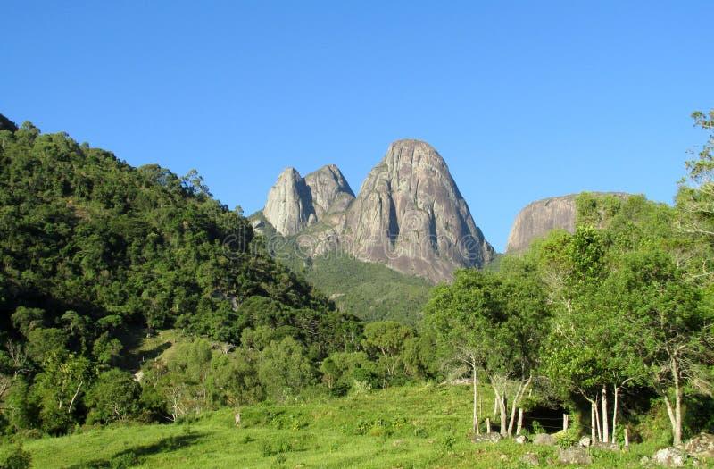 Tres Picos National Park. Tres Picos, three peaks isolate mountain ofSerra dos Orgaos National Park located in Nova Friburgo town, Rio de Janeiro Brazil. The royalty free stock image