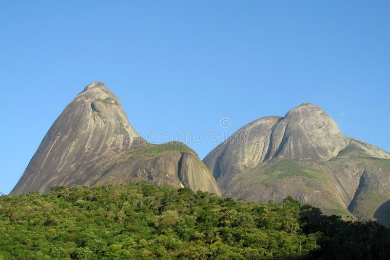 Tres Picos Park, Atlantic Rainforest, Brazil. Tres Picos, three peaks isolate mountain ofSerra dos Orgaos National Park a great stone wall to climb stock images