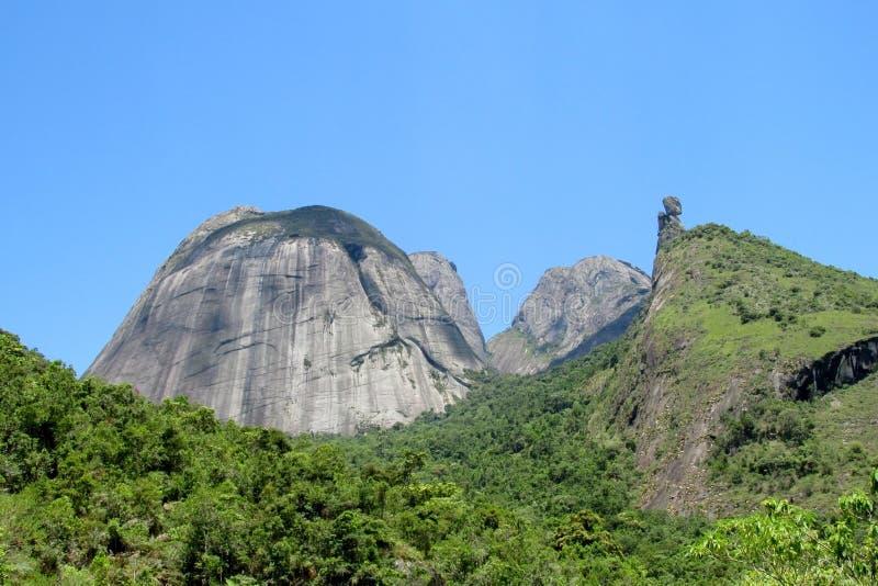 Tres Picos Park, Atlantic Rainforest, Brazil. Tres Picos, three peaks isolate mountain ofSerra dos Orgaos National Park a great stone wall to climb royalty free stock photography