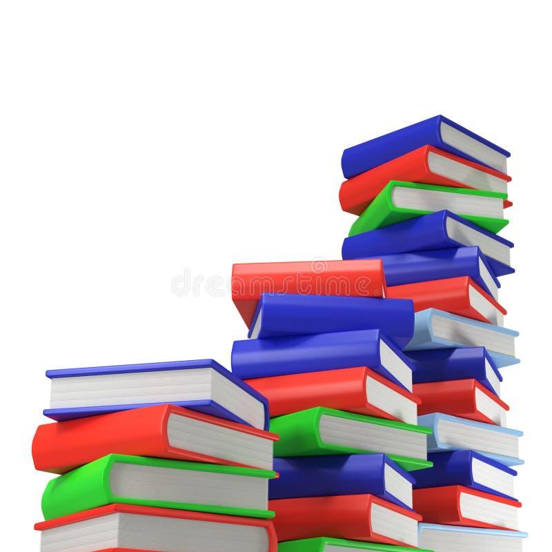 Tres pilas de libros multicolores yo en fondo blanco vacío foto de archivo