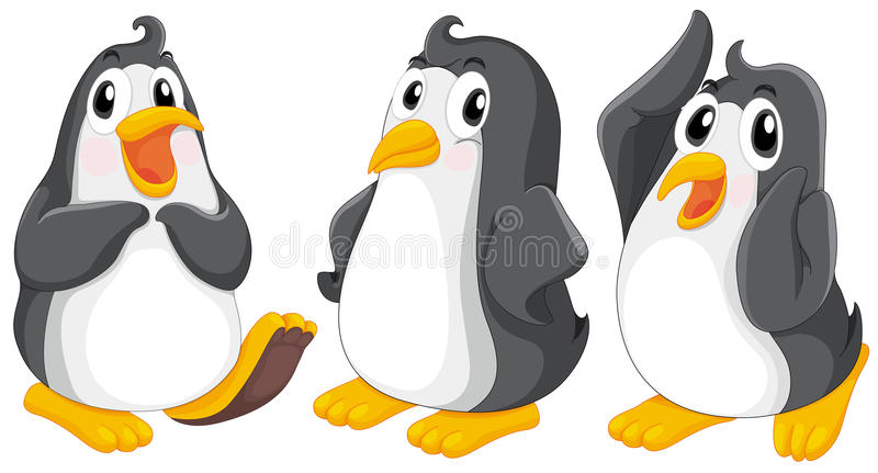 Tres pingüinos lindos libre illustration