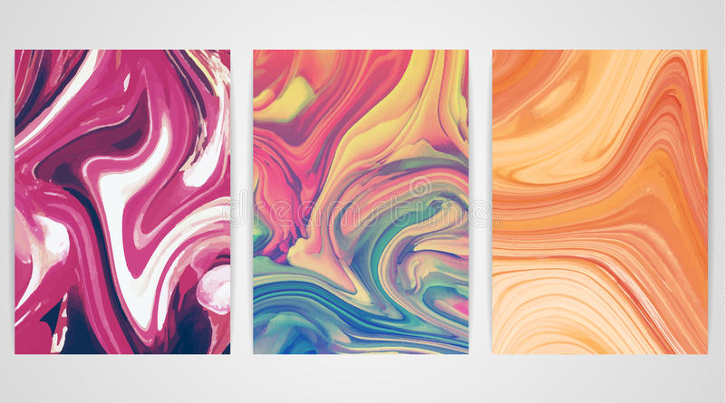 Tres pinturas con vetear Textura de mármol Pinte el chapoteo Líquido colorido ilustración del vector