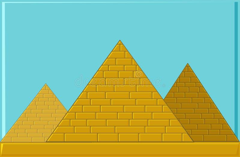 Tres pirámides de Egipto antiguo de bloques ilustración del vector