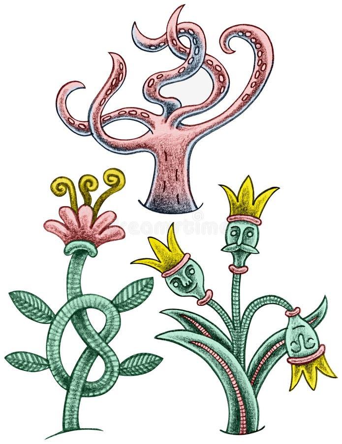 Tres plantas divertidas - florezca con nodo, el árbol con tentáculos y la flor con las coronas ilustración del vector