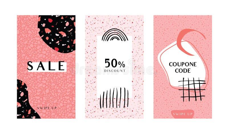 Tres plantillas de las historias con formas de moda del collage del terrazo en las sombras coralinas stock de ilustración
