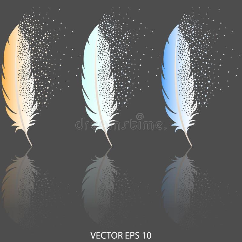 Tres plumas con efecto del decaimiento, con las sombras del color sobre un fondo gris oscuro libre illustration