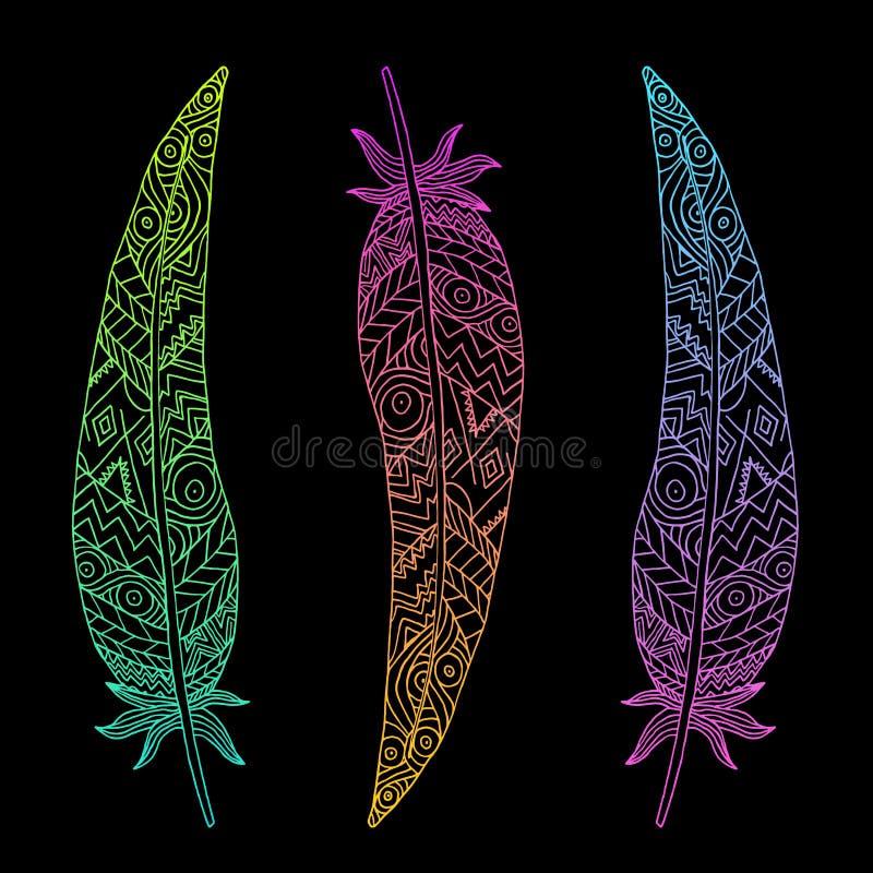 Tres plumas que brillan intensamente stock de ilustración