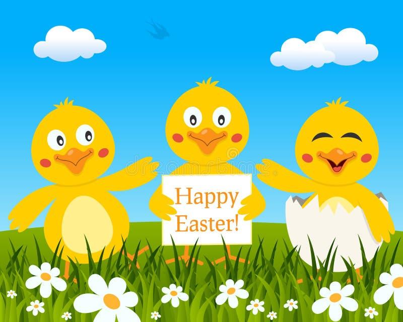 Tres polluelos lindos que desean Pascua feliz libre illustration