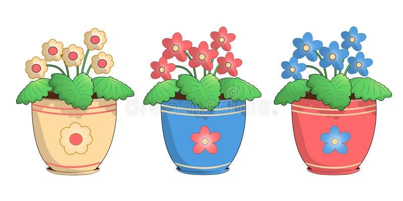 Tres potes de violetas stock de ilustración