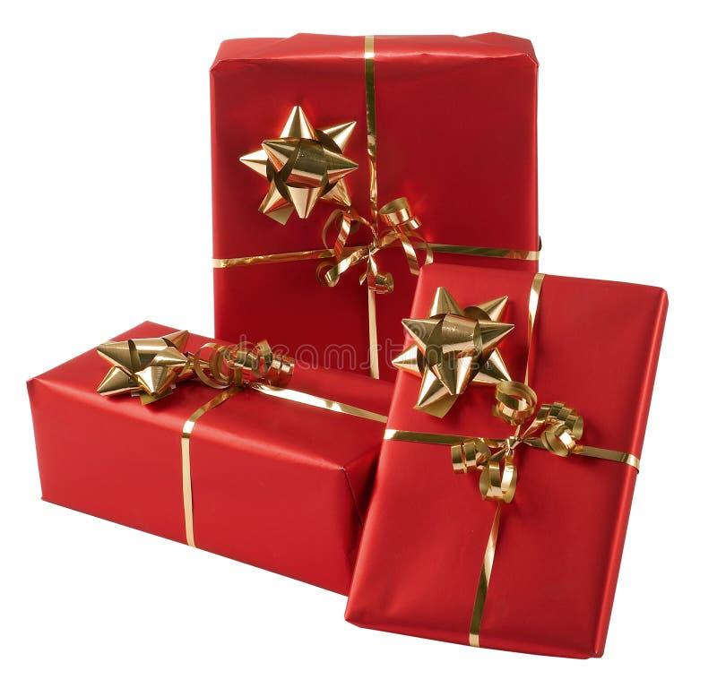 Tres presentes envueltos fotos de archivo libres de regalías
