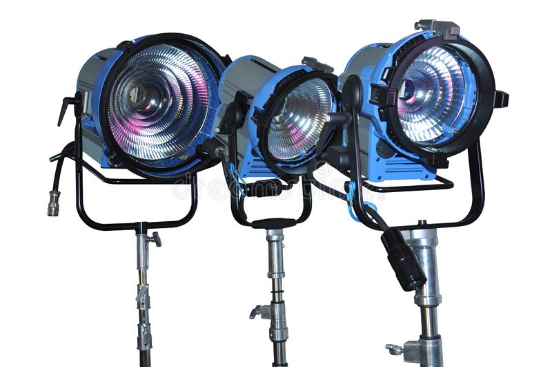 Tres proyectores del halógeno imágenes de archivo libres de regalías