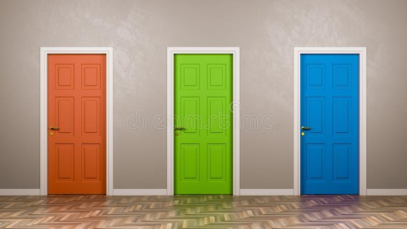 Tres puertas cerradas en el cuarto ilustración del vector