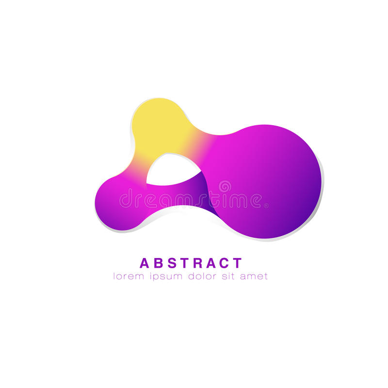 Tres puntos están conectados Insignia abstracta Logotipo púrpura infinito Vector ilustración del vector