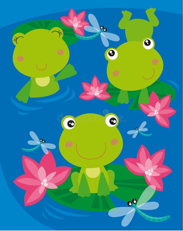 Tres ranas stock de ilustración