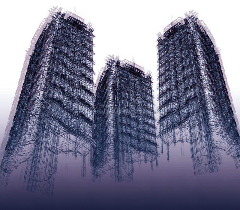Tres rascacielos abstractos stock de ilustración