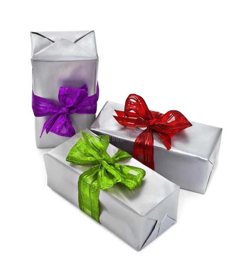 Tres regalos de Navidad foto de archivo