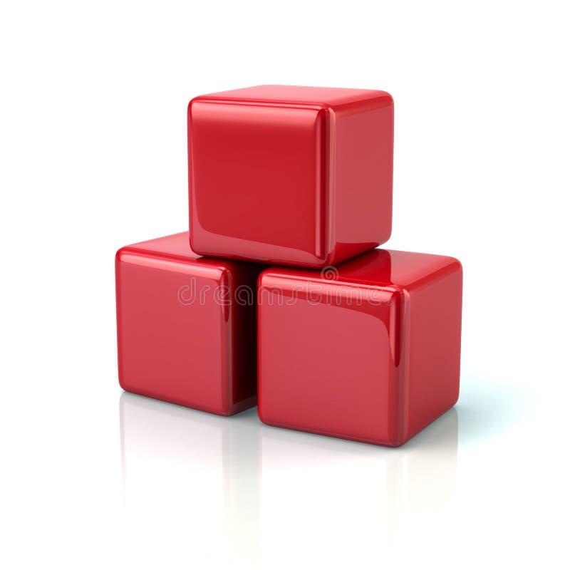Tres representación roja de los cubos 3d stock de ilustración