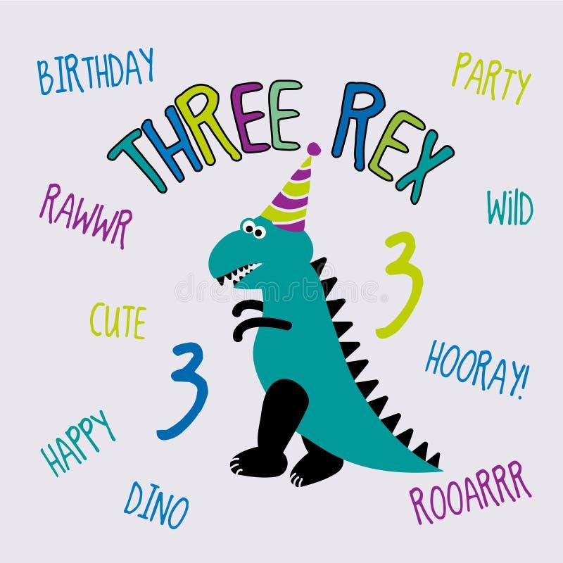 Tres Rex, colección divertida del dinosaurio de la historieta para 3 Fiesta de cumpleaños ilustración del vector