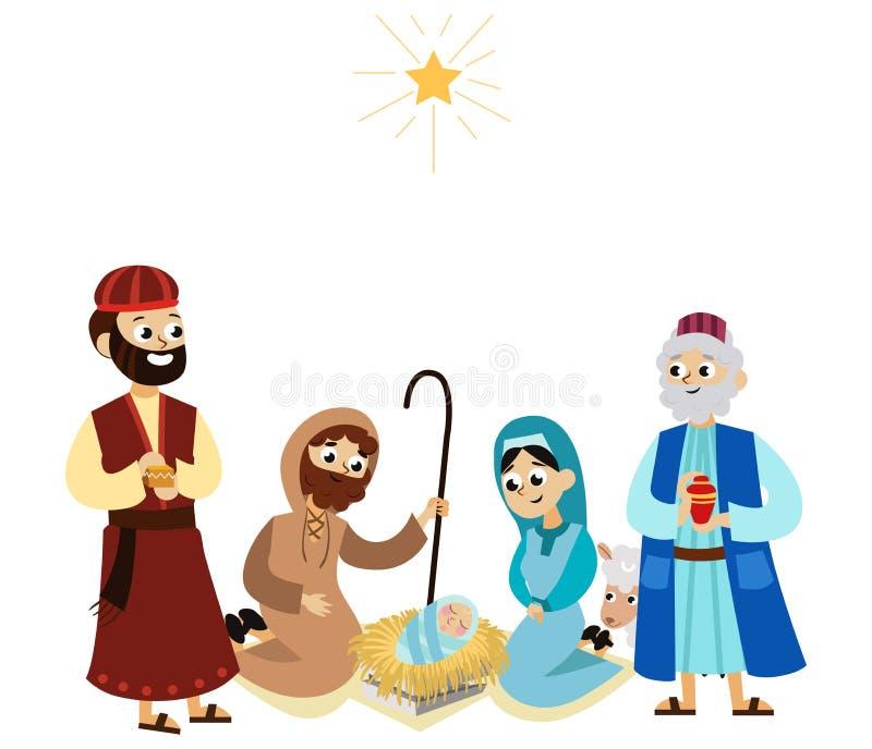 Tres reyes mágicos de Oriente que traen presentes a Cristo libre illustration