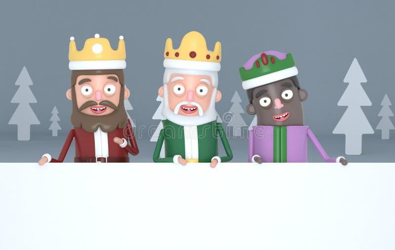 Tres reyes mágicos llevando a cabo carteles blancos grandes en un bosque gris ilustración 3D ilustración del vector