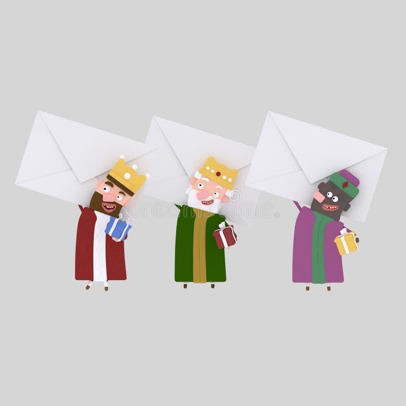 Tres reyes mágicos que llevan a cabo letras grandes 3d stock de ilustración