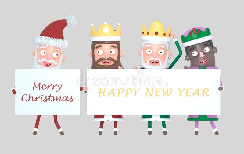 Tres reyes mágicos y Santa Claus que llevan a cabo un cartel con saludos Aislado ilustración 3D stock de ilustración