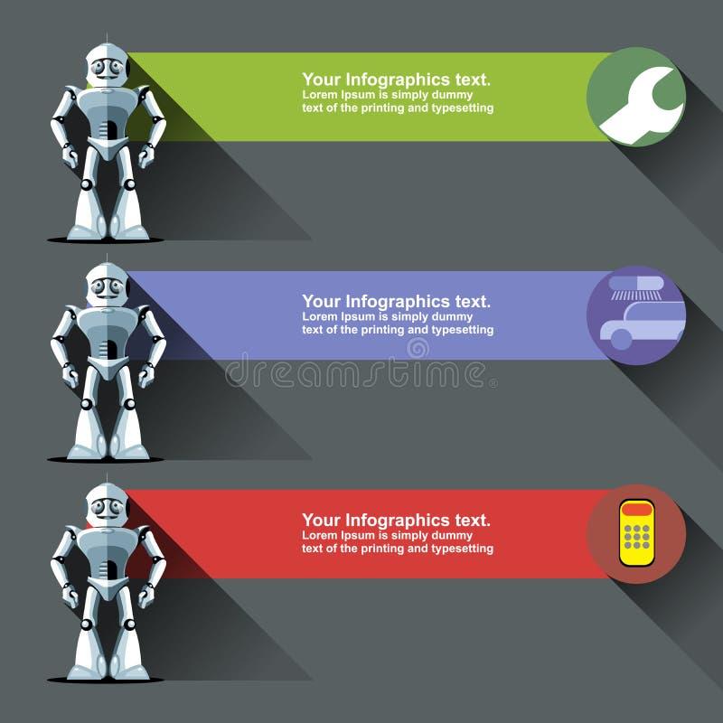 Tres robots de plata del humanoid ilustración del vector