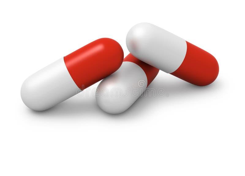 Tres rojos y las cápsulas blancas se cierran para arriba stock de ilustración