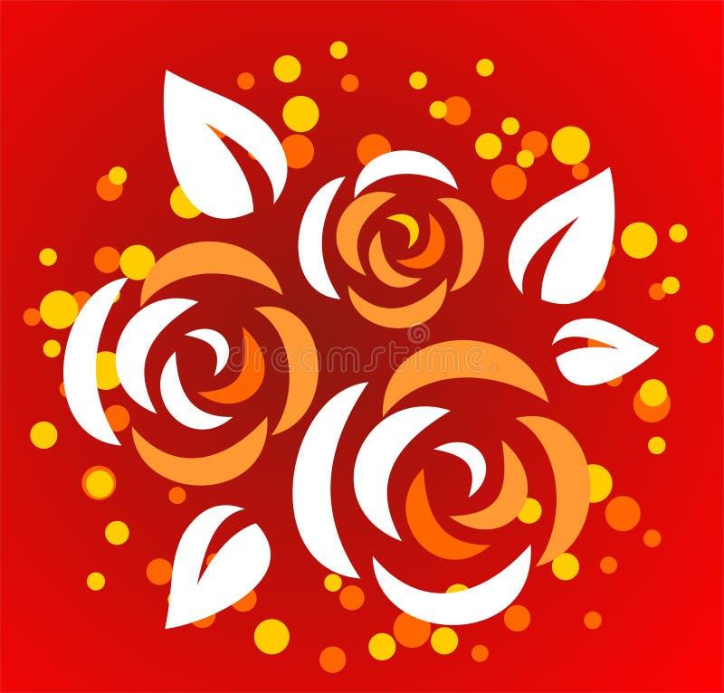 Tres rosas estilizadas stock de ilustración