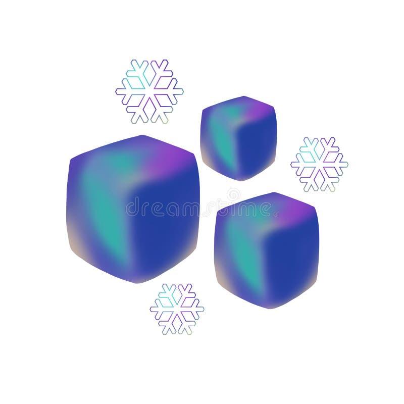 Tres símbolos de los cubos y de los copos de nieve de hielo aislados en el fondo blanco stock de ilustración