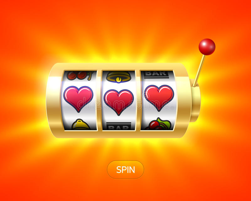 Tres símbolos del corazón en la máquina tragaperras del oro stock de ilustración