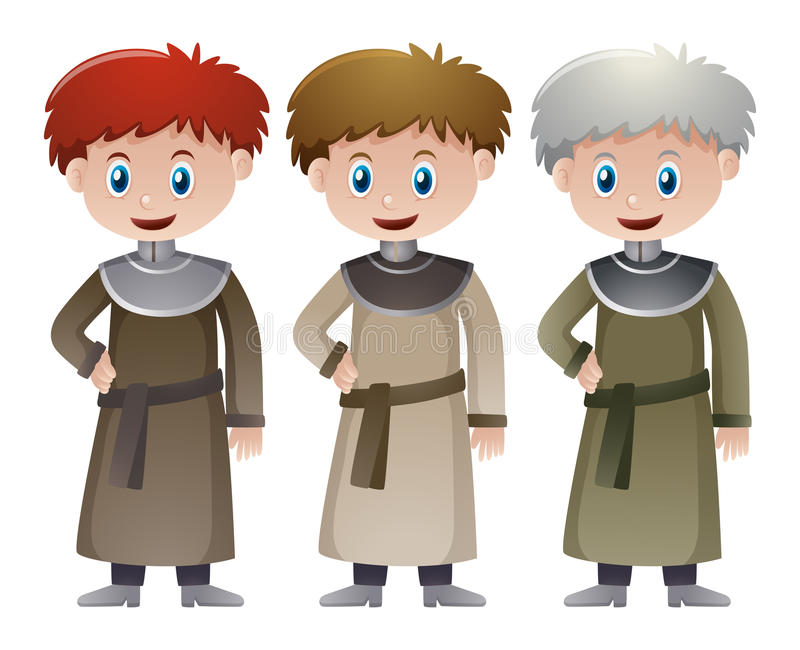 Tres sacerdotes en tiempo medieval stock de ilustración