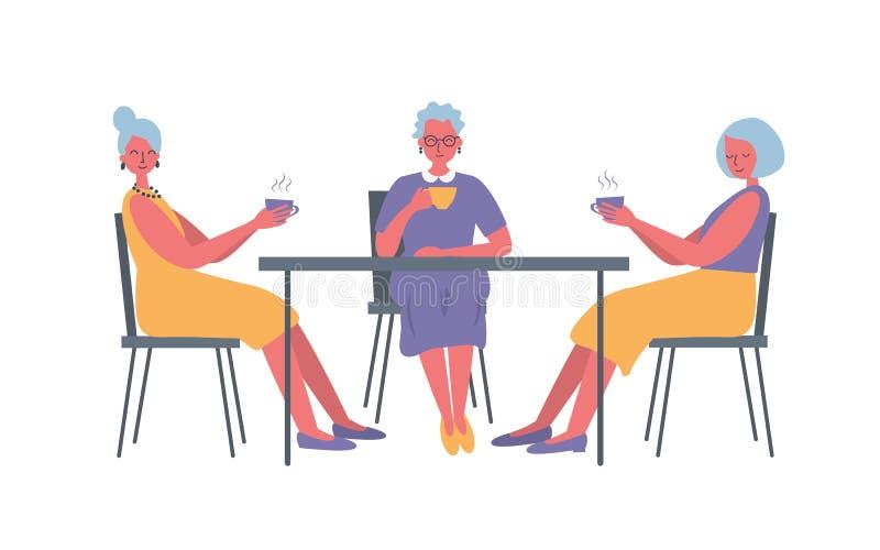 Tres se?oras mayores en el caf? Hay mujeres mayores, sent?ndose en la tabla y el caf? de consumici?n ilustración del vector