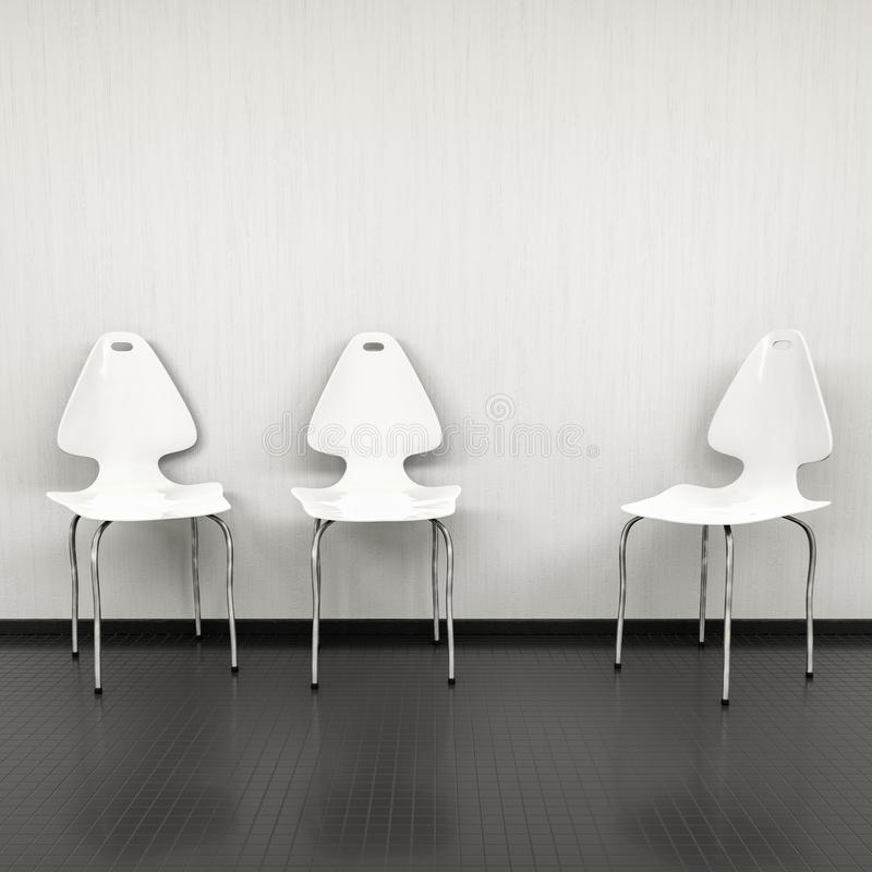 tres sillas blancas en una pared con el espacio para su contenido stock de ilustración