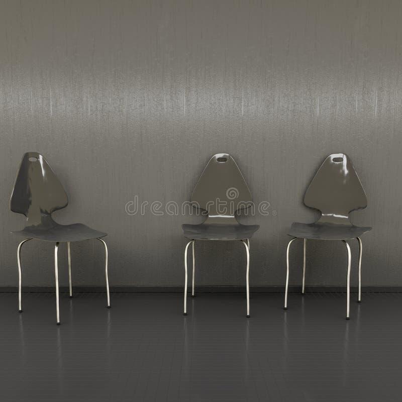 tres sillas negras en una pared con el espacio para su contenido libre illustration