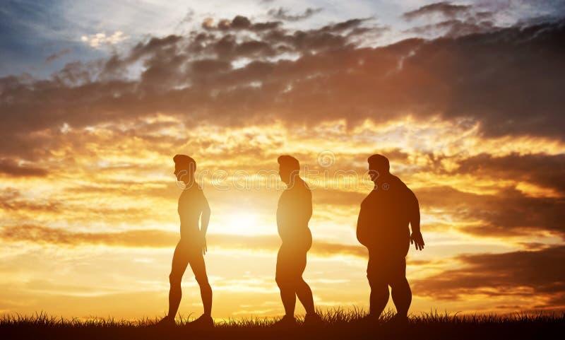 Tres siluetas de los hombres con diversos tipos de cuerpo en un cielo de la puesta del sol imagenes de archivo