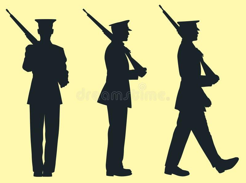 Tres soldados de la silueta stock de ilustración