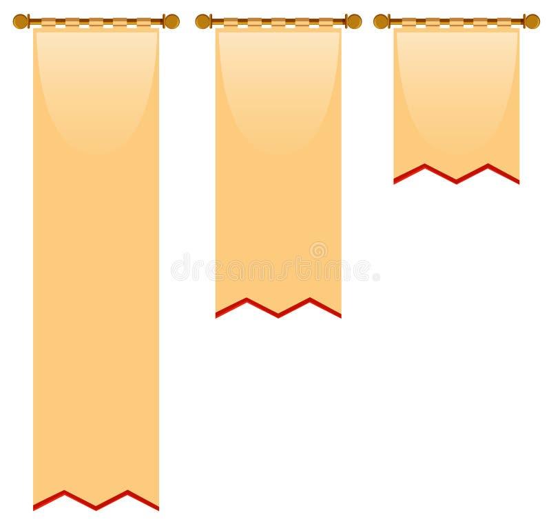 Tres tamaños de la bandera con estilo medieval ilustración del vector