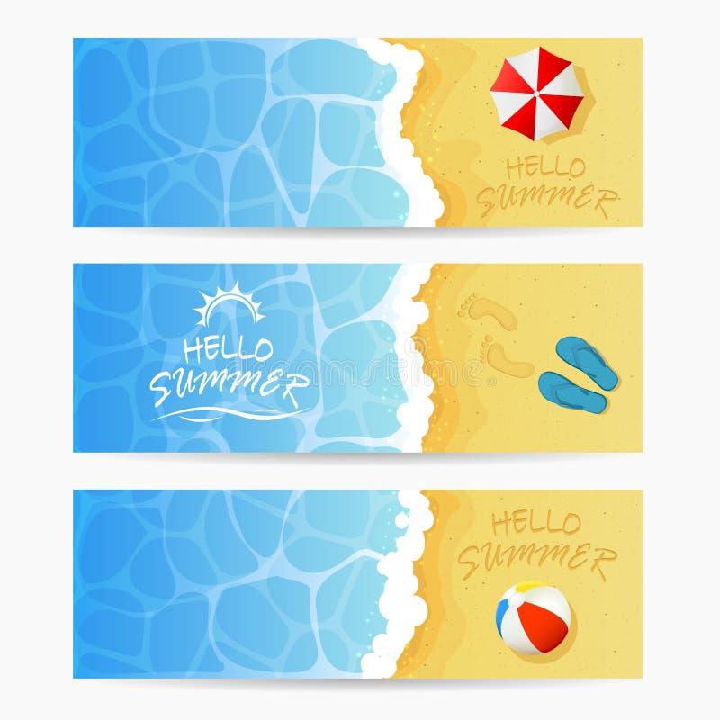 Tres tarjetas de verano de la playa ilustración del vector